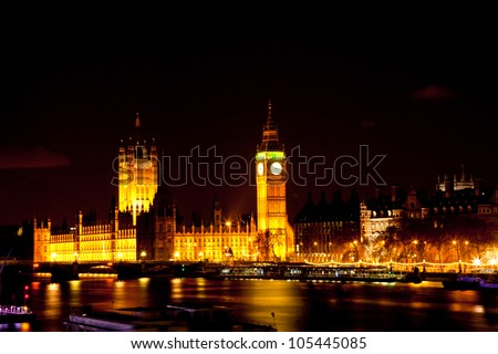 Big Ben and Palace of Westminster shine a night London England UK
