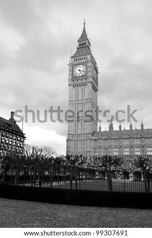 Big Ben and Parliament Houses, in black and white, taken in sunlight of early evening. London, United Kigdom, Great Britain. - stock photo