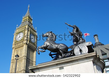 Big Ben and prancing horse of Boudica sculpture group in City of Westminster, London