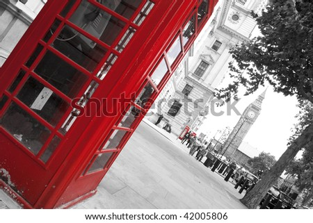Big Ben and red phone booths in London