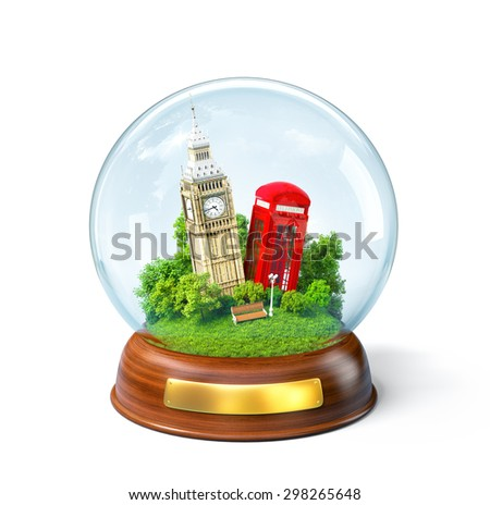 Big Ben and red phone box in the glass ball. Unusual travel illustration. London