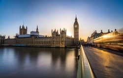 Big Ben and the houses of Parliament in London at dusk