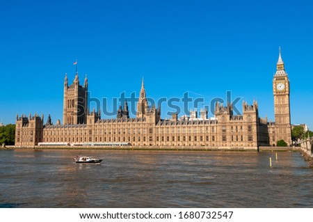 Big Ben and the Houses of Parliament on the river Thames, London, UK