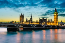 Big Ben and the Palace of Westminster at sunset, London, UK