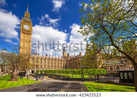 Big Ben and the Palace of Westminster, landmark of London, UK #423423523