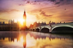 Big Ben and Westminster Bridge at dusk, London, UK