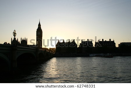 Big Ben and Westminster Bridge at sunset