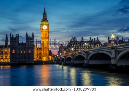 Big Ben and Westminster Bridge by night, London, UK #1038299983