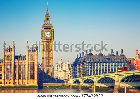 Big Ben and westminster bridge in London #377422852