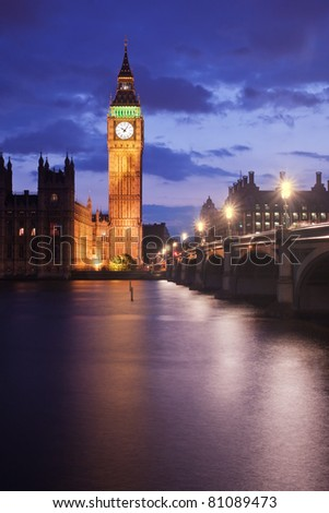 Big Ben and Westminster Bridge in London, UK, at dusk