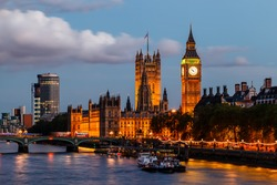 Big Ben and Westminster Bridge in the Evening, London, United Kingdom