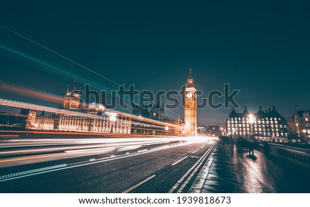 Big Ben and Westminster Bridge with traffic at rush hour, London, United Kingdom