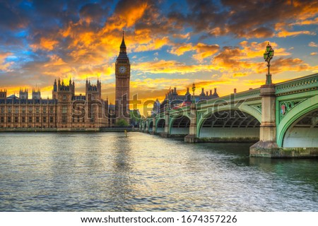 Big Ben and Westminster Palace in London at sunset, UK