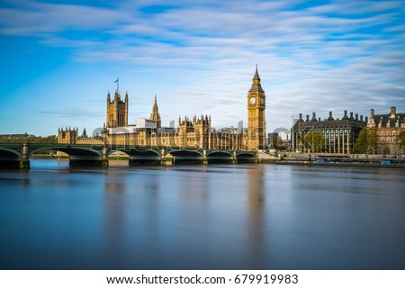 Big Ben and Westminster parliament with colorful blue sky #679919983