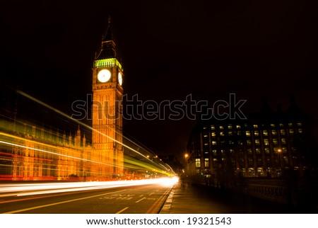 Big Ben at night, London, UK. - stock photo