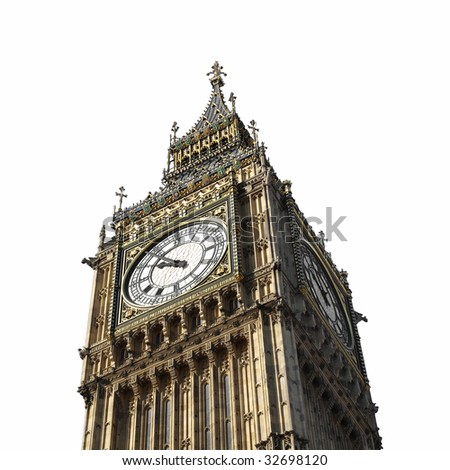 Big Ben at the Houses of Parliament, Westminster Palace, London, UK - isolated over white with copy space