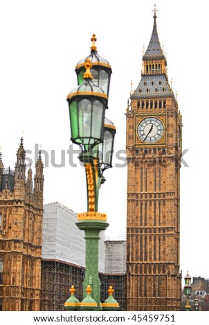 Big Ben clock and Houses of Parliament in London England