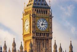 Big Ben clock at colorful blue sky, Landmark of London, UK