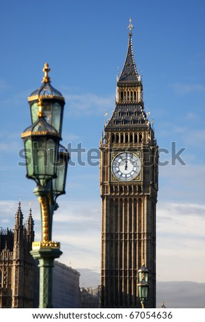 Big Ben, clock just right in the noon, London , UK - stock photo