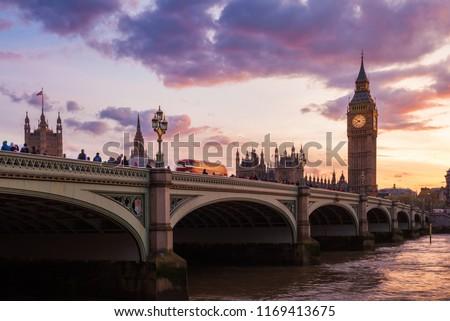 Big Ben Clock Tower and Westminster Bridge, London, United Kingdom