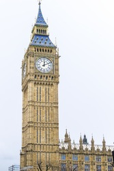Big Ben Clock Tower Palace of Westminster London England UK. Big Ben is the nickname for the Great Bell of the clock at the Palace of Westminster in London, United Kingdom