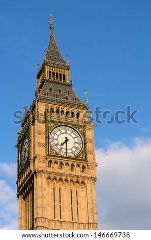 Big Ben Elizabeth Clock Tower in Westminster London England.