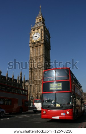Big Ben - famous clock tower in City of Westminster, part of London with typical red doubledecker in foreground