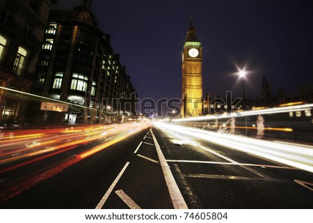 big ben from the highway - stock photo