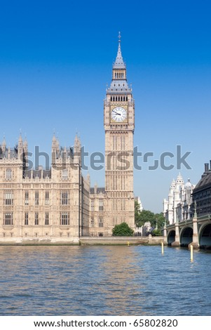 Big Ben, Houses of Parliament overlooking River Thames on bright sunny morning, London England