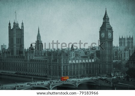 Big Ben, Houses of Parliament, Westminster Palace. Double Decker bus in evidence. London, United Kingdom. Vintage effect.