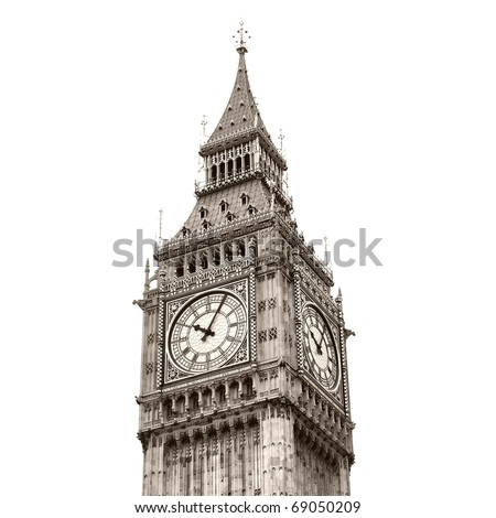 Big Ben, Houses of Parliament, Westminster Palace, London gothic architecture - high dynamic range HDR - black and white