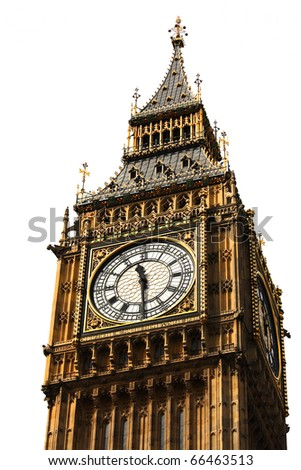 Big Ben, Houses of Parliament, Westminster Palace, London gothic architecture isolated over white background