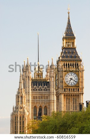 Big Ben, Houses of Parliament, Westminster Palace, London - in the late afternoon sun