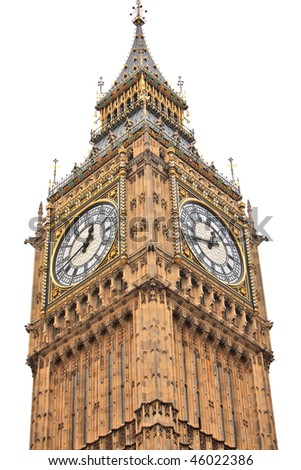 Big Ben in London isolated on white