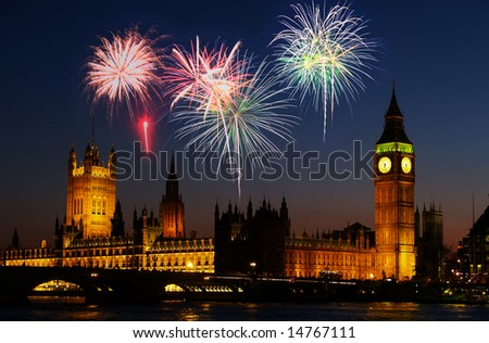 Big Ben in London - with a firework illustration