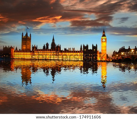 Big Ben in the evening London England