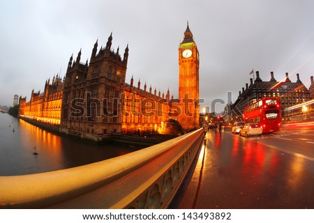 Big Ben in the evening with bridge, London, England
