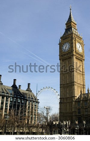 Stock Photo Big Ben in the spring with London Eye in background
