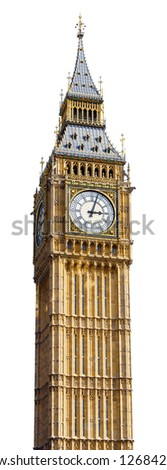 Big Ben in Westminster, London, cut out with a white background.