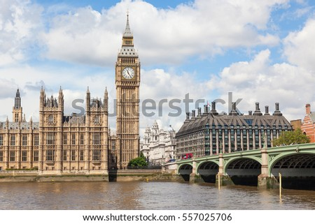 Big Ben is the nickname for the great bell of the clock at the north end of the Palace of Westminster in London and is often extended to refer to the clock and the clock tower. #557025706