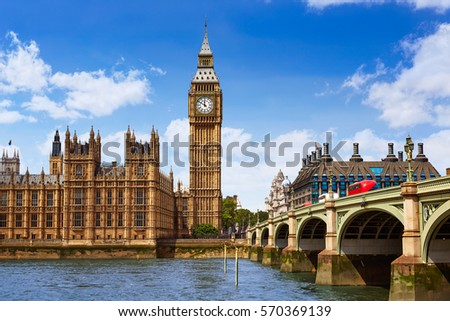 Big Ben London Clock tower in UK Thames river #570369139