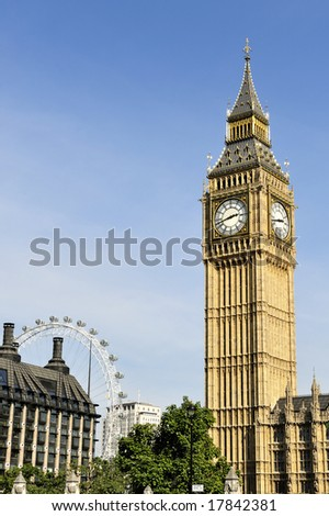 Big Ben, London, England, in the afternoon from Parliament Square