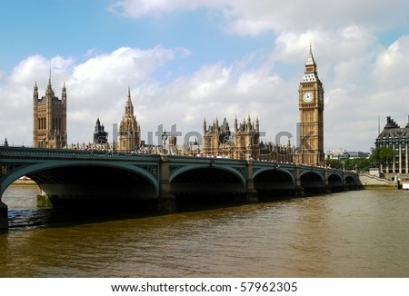 Big Ben of London, House of Parliament and Westminster bridge