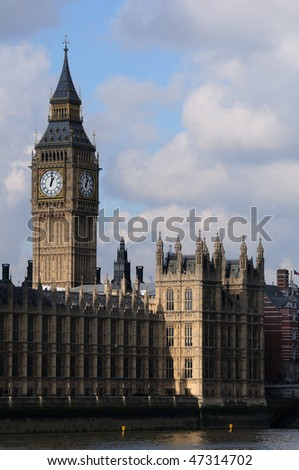 Big Ben & Palace of Westminster landscape looking across the Thames river
