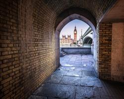 Big Ben, Queen Elizabeth Tower and Wesminster Bridge framed in Arch, London, United Kingdom