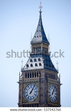 Big Ben showing two clock-faces and a beautiful blue sky.