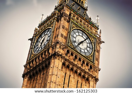 Big Ben, the bell of the clock close up. The famous icon of London, England, the UK.