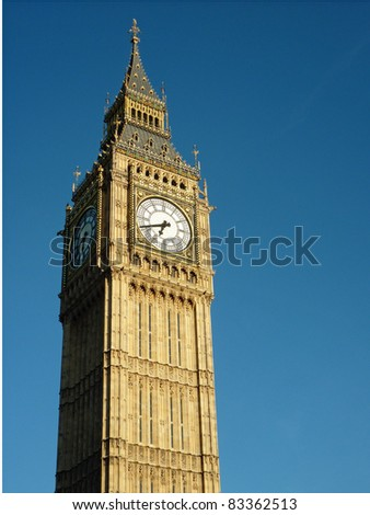 Big Ben, The Clock Tower at The Palace Of Westminster (The Houses of Parliament)