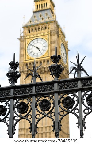 Big Ben tower and fence. London, United Kingdom.