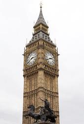Big Ben Tower Clock on a cloudy grey sky